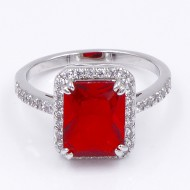 Rhodium Plated With Red Radiant CZ Engagement Ring