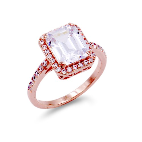 Rose Gold Plated With Clear Radiant Cut CZ Engagement Rings