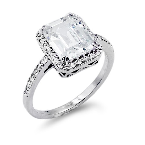 Rhodium Plated With Clear Radiant Cut CZ Engagement Rings
