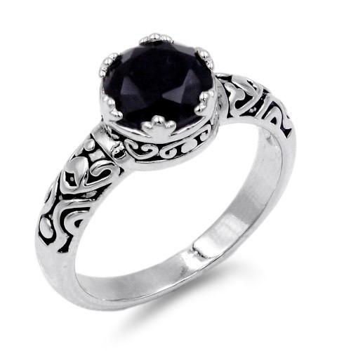Rhodium Plated Black CZ Ring
