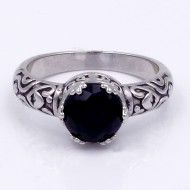 Rhodium Plated Black CZ Ring