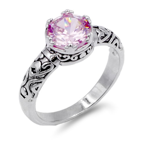 Rhodium Plated Pink CZ Ring