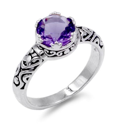 Rhodium Plated Purple CZ Ring