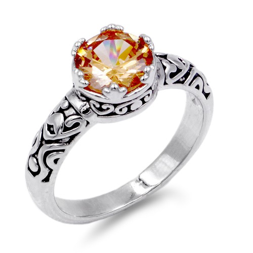 Rhodium Plated Topaz CZ Ring