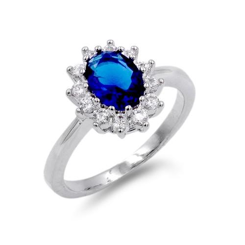 Rhodium Plated Sapphire Blue CZ Ring