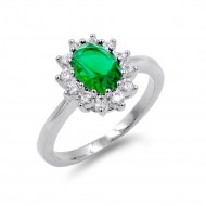 Rhodium Plated Green Color CZ Ring