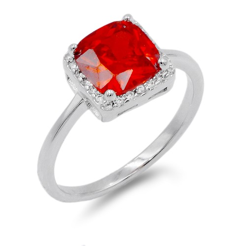 Rhodium Plated Red Color CZ Ring
