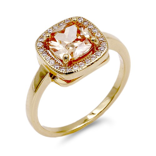 Rhodium Plated Topaz Color CZ Ring