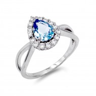 Rhodium Plated Blue Color CZ Ring