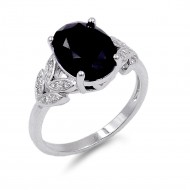 Rhodium Plated Black Color CZ Ring