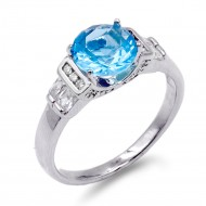 Rhodium Plated Aqua Color CZ Ring