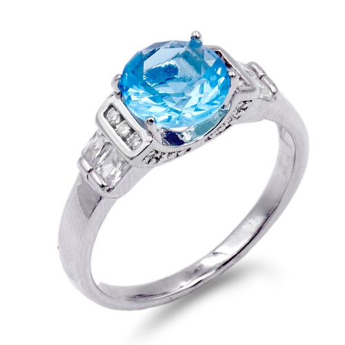 Rhodium Plated Aqua Color CZ Ring
