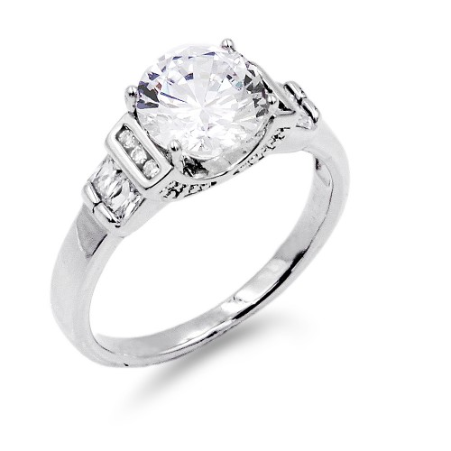 Rhodium Plated Clear Color CZ Ring