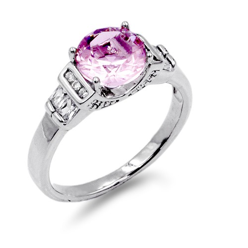 Rhodium Plated Pink Color CZ Ring