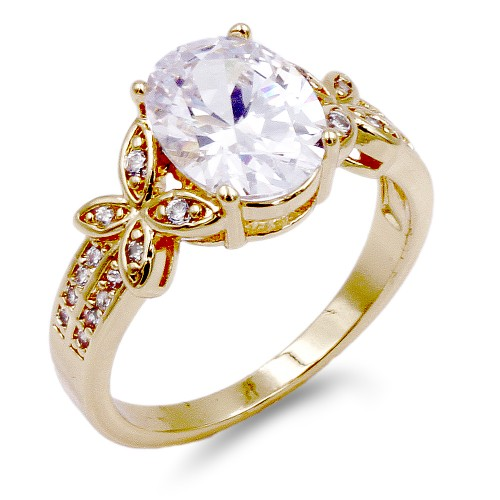 Gold Plated Clear CZ Ring