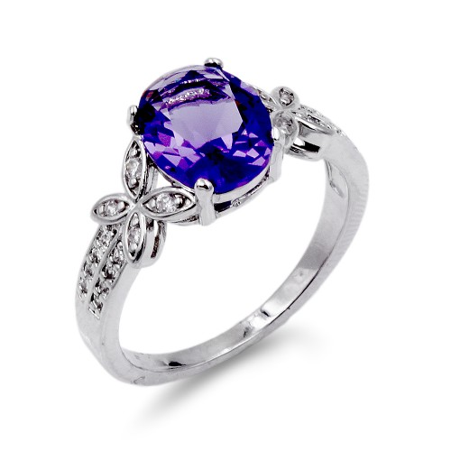 Rhodium Plated Purple Color CZ Ring