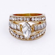 Gold Plated With Clear Crystal Ring