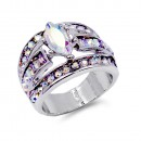 Rhodium Plated With Clear Crystal Ring