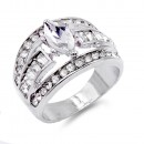 Rhodium Plated With Clear AB Crystal Ring