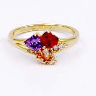 Gold Plated With Multi-Color CZ Engagement Rings