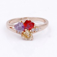 Rose Gold Plated With Multi-Color CZ Engagement Rings