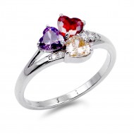 Rhodium Plated w. Multi-Color CZ Engagement Rings