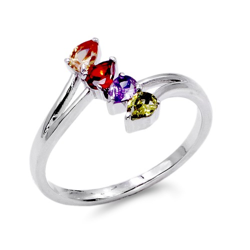 Rhodium Plated With Multi-Color CZ Engagement Rings