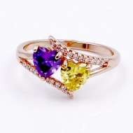 Rose Gold Plated With Multi Color CZ Engagement Rings