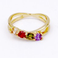 Gold Plated With Multi Color CZ Engagement Rings
