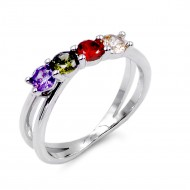 Rhodium Plated With Multi Color CZ Engagement Rings