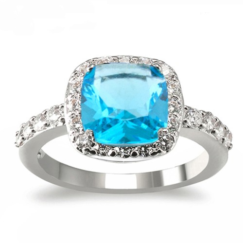 Princess Cut Aqua Blue CZ Rhodium Plated Wedding Engagement Ring