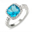 Princess Cut Aqua Blue CZ Rhodium Plated Wedding Engagement Ring