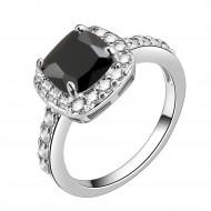 Princess Cut Black CZ Rhodium Plated Wedding Engagement Ring