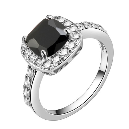 Princess Cut Black CZ Rhodium Plated Wedding Engagement Ring