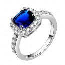 Princess Cut Blue CZ Rhodium Plated Wedding Engagement Ring