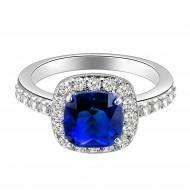 Princess Cut Blue CZ Rhodium Plated Wedding Engagement Ring