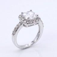 Princess Cut Clear CZ Rhodium Plated Wedding Engagement Ring