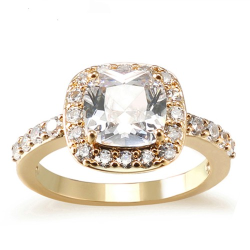Princess Cut Clear CZ Gold Plated Wedding Engagement Ring
