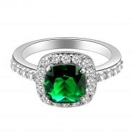 Princess Cut Green CZ Rhodium Plated Wedding Engagement Ring