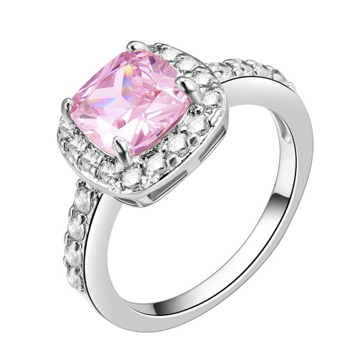 Princess Cut Pink CZ Rhodium Plated Wedding Engagement Ring