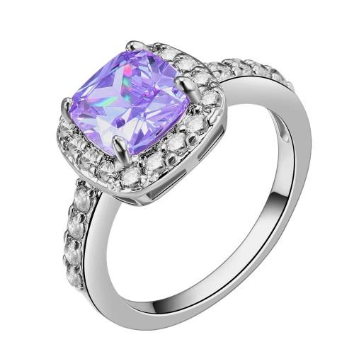 Princess Cut Purple CZ Rhodium Plated Wedding Engagement Ring