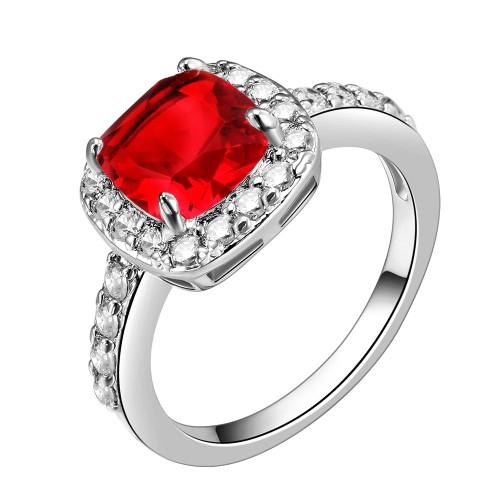 Princess Cut Red CZ Rhodium Plated Wedding Engagement Ring