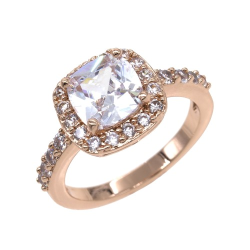 Princess Cut Clear CZ Rose Gold Plated Wedding Engagement Ring