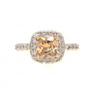 Princess Cut Topaz CZ Gold Plated Wedding Engagement Ring