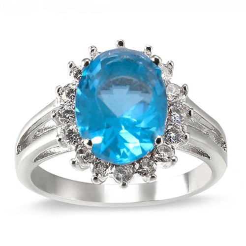 Royal Blue Oval CZ Engagement Ring