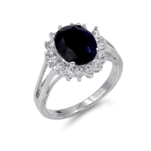 Rhodium Plated Black Oval CZ Engagement Ring