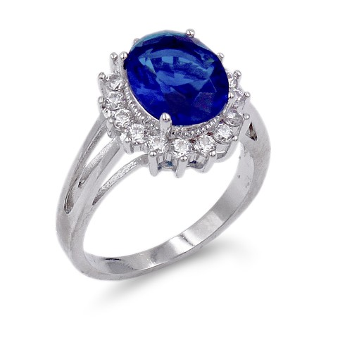 Rhodium Plated Blue Oval CZ Engagement Ring