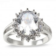 Rhodium Plated Clear Oval CZ Engagement Ring