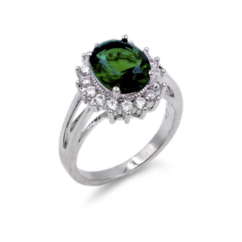 Rhodium Plated Green Oval CZ Engagement Ring