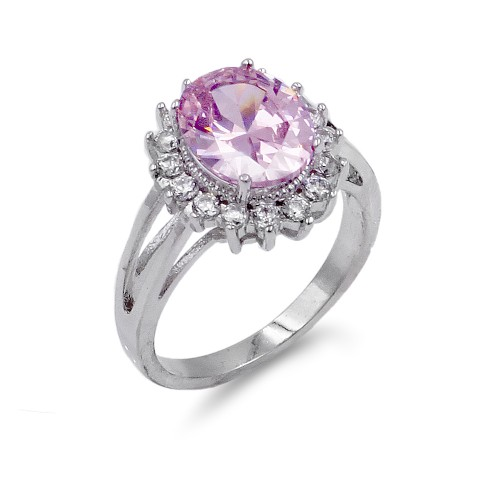 Rhodium Plated Pink Oval CZ Engagement Ring